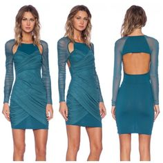 Style stalker teal cutout long sleeve mini dress Color matches first pic, came out darker on my camera. Only worn once, excellent condition with the exception of a small stain on the front side as pictured in last pic. Can easily be hidden in the ruching or dry cleaned. Barely noticeable unless looking very closely. Price reflects defect, retails for $168. Stylestalker Dresses Long Sleeve