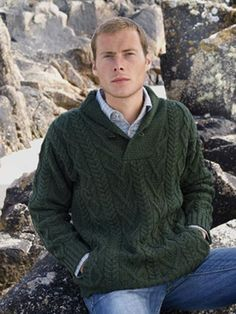 Shawl Collar Man's Irish Aran #Sweater.Made from 100% Soft Merino Wool. This is available up to size XXL. Colours: Natural and Army Green.