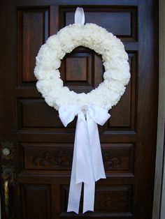 For the front door! White Paper Flower Wedding Wreath with Pearls and Rhinestones