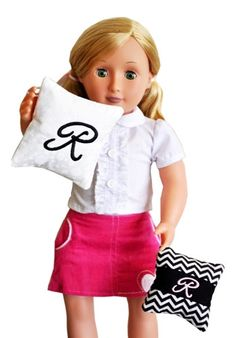 Monogrammed Doll Pillows in the Hoop