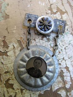 Antique Tintype Assemblage Art Brooch // by SalvageArtSweetheart, $45.00
