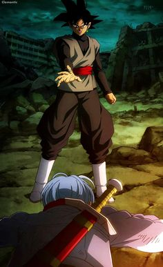 Trunks vs Black Goku
