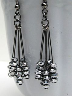 Black Dangle Earrings, Silver Sparkly Earrings, Black Bead Earrings, Gunmetal Earrings    These striking earrings add a dash of drama and sparkle