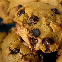 Pumpkin Chocolate Chip Cookies ~ If you like pumpkin pie and chocolate, you'll love these cookies. I think they taste best when they are cold from the refrigerator.