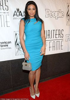 Blues babe: Jordin Sparks attended the Songwriters Hall of Fame 44th Annual Induction and Awards Dinner in New York City on Thursday in a stunning blue dress