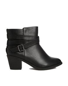 London Rebel Strap Heeled Ankle Boots