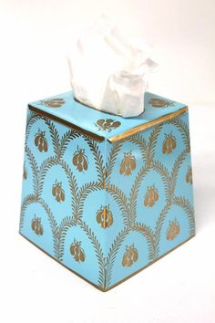 Napoleonic Bee Blue Tissue Box Cover