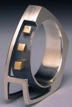 """Architecture"" ring - Tom Ferrero (14k gold, sterling silver)"
