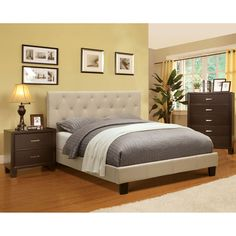 The contemporary design features a classic padded button-tufted headboard, the finest quality materials and offers effortless comfort and class to any bedroom. The nightstand and chest are crafted with solid wood capped with veneers.