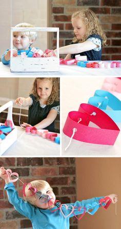 Kids Making Heart Valentines Garland