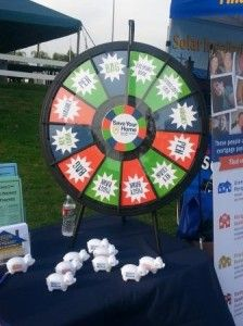 Come by our booth to get information on down payment assistance programs, foreclosure prevention and credit counseling. Buy this Prize Wheel at http://PrizeWheel.com/products/tabletop-prize-wheels/tabletop-black-clicker-prize-wheel-12-slot/.