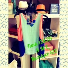 Mint, coral and royal blue tank paired with a chunky blue necklace
