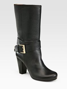 Chloé- Stacked Heel Mid-Calf Textured Leather Boots, calf leather, in black, $995 (also available, here: http://www.bergdorfgoodman.com/p/Chloe-Buckled-Ankle-Wrap-Boot-Shoes/prod77490009_cat346900_cat70001_/?index=2=cat000000cat000002cat000008cat70001cat346900=false, and here: http://shop.nordstrom.com/s/chloe-mid-buckle-boot/3327146?origin=category#)