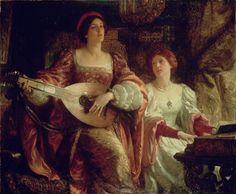 """""""The Duet"""" von Sir Frank Dicksee (geboren am 27. November 1853 in London, gestorben am 17. Oktober 1928 ebenda), englischer Maler."""