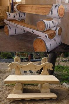 Handmade garden benches made of twigs and logs add unique feel of a country home to gardens and backyard designs