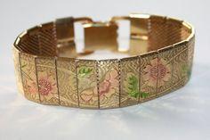 Vintage Bracelet Mesh Pink Rose Link 1970s Jewelry by patwatty, $12.00