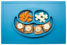 Amazon.com : ezpz Happy Mat (Blue) - One-piece silicone placemat + plate : Baby