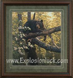 buy painting of a bear waiting for apples to appear on apple tree at www.explosionluck.com