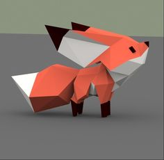 The 'Little Fox' low poly models, Sasha Vishnevsky Kirigami, Low Poly Games, Polygon Art, 3d Modelle, Low Poly 3d Models, 3d Paper Crafts, 3d Artwork, Character Design, Character Art