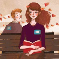 Enamorados… de la lectura? (ilustración de Ilaria Urbinati) #biblioteques_UVEG