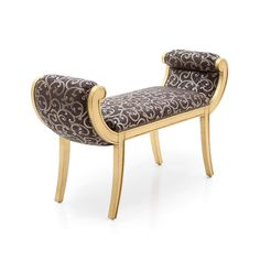 GONDOLA STYLE UPHOLSTERED WINDOW BENCH SEAT STOOL - FUR - GOND Cost pound 275 00 plus 2m fabric Raised on splayed legs and with scroll arms this