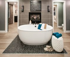 Master Bathroom with double sided fireplace to Master Suite - Paxton Coastal Classic Double Sided Fireplace, Corner Bathtub, Master Suite, Master Bathroom, Building A House, Ohio, New Homes, Floor Plans, Jeremiah 29