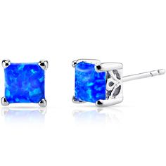 MSRP: $129.99    Our Price: 59.99    Savings: 70.00         Item Number: SE8476    Availability: Usually Ships in 5 Business Days         PRODUCT DESCRIPTION:    With fascinating depth of gorgeous hues, Created Blue Opal Sterling Silver Princess Stud Earrings are essential for any girl's jewelry collection. These gorgeous studs are fashioned into sleek sterling silver four-pronged mount. Fit is secure and comfortable with post-tension earrings backs.          FEATURES:      	Crafted in…