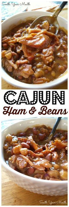 Dried beans cooked low and slow with a ham bone and Cajun seasonings. DELICIOUS over rice! Dried beans cooked low and slow with a ham bone and Cajun seasonings. DELICIOUS over rice! Creole Recipes, Cajun Recipes, Bean Recipes, Pork Recipes, Slow Cooker Recipes, Crockpot Recipes, Cooking Recipes, Aloo Recipes, Quick Recipes