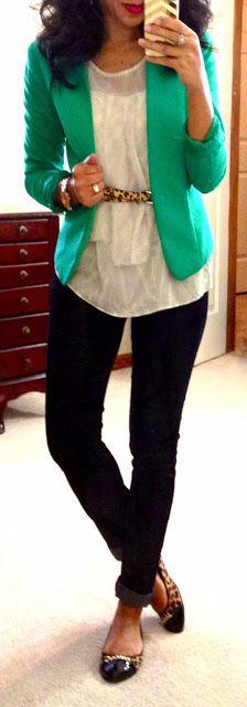 Green Blazer, accent belt, skinny black pants, flats || Hello, Gorgeous!: