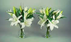 The Leamore - Demmerys Water Effect, Artificial Silk Flowers, Mothers Day Flowers, White Lilies, Bud, Ticket, Bespoke, Console, Glass Vase