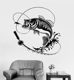 Vinyl Wall Decal Fish Fishing Rod Hobbies Man Stickers Mural (ig3597)