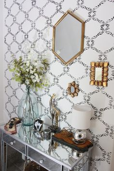 Cutting Edge Stencils shares DIY stenciled entryway using the Chelsea Allover Stencil. Stick On Wallpaper, Of Wallpaper, Painted Baskets, Baskets On Wall, Palladian Blue Benjamin Moore, Old Entertainment Centers, Faux Granite, Entry Wall, Cutting Edge Stencils