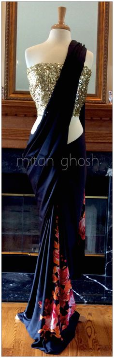 love this - Rose printed satin georgette saree.