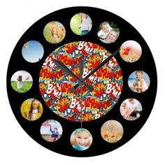 Comic Book Pattern Photo Collage Large Clock find more personalized clocks at www.mouseandmarker.com