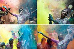 holi. why don't we have cool festivals like these in australia. Coloured powder in india...water in Thailand. We're too uptight.