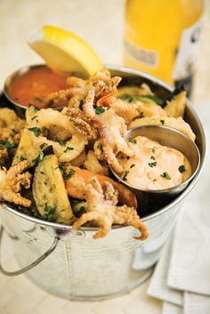 Spicy fried calamari at Brothers Restaurant at the Red Barn. It is SO good!