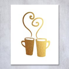 Hot Mugs Gold Foil Decor Wall Art Print Christmas Cafe Kitchen Art Metallic Poster 8 inches x 10 inches C26. Digibuddha(TM) real foil art prints are made by hand in our small shop just outside of Philadelphia. • Made with gorgeous luxe gold foil and premium pure white matte card stock. • Prints arrive unmatted, ready to be placed in your favorite frame. • Original design: all Digibuddha(TM) paper goods are exclusively created in-house by our design team. /// Hot Mugs /// Beautiful classic...