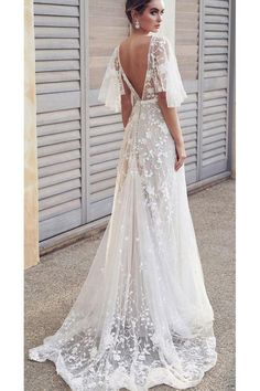 grecian wedding dresses wedding dresses 2019 a line v back floral lace with flowy sleeves anna campbell wedding dress - wedding dress lace - wedding dress vintage - wedding dres Boho Wedding Dress With Sleeves, Lace Beach Wedding Dress, Rustic Wedding Dresses, Applique Wedding Dress, Wedding Dress Trends, Best Wedding Dresses, Bridal Dresses, Lace Dresses, Dresses With Sleeves