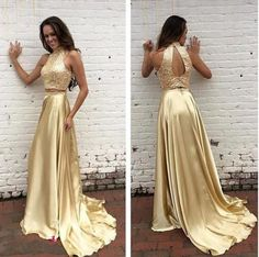 2016 Two Pieces Prom Dresses High Neck Gold Sequined Bodice Dresses Evening Gowns Vestido Keyhole Back A-line Formal Party Gowns Gold Two Piece Prom Dress, Two Piece Evening Dresses, Gold Evening Dresses, Gold Prom Dresses, Beaded Prom Dress, A Line Prom Dresses, Cheap Prom Dresses, Prom Party Dresses, Sexy Dresses