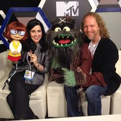 Muppeteers Stephanie D'Abruzzo and Peter Linz with their characters from Scooby-Doo! Adventures: The Mystery Map.