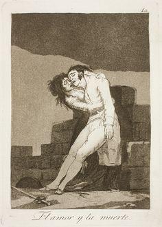 """Francisco de Goya: """"El amor y la muerte"""". Serie """"Los caprichos"""" [10]. Etching, aquatint and burin on paper, 215 x 151 mm , 1797-99. Museo Nacional del Prado, Madrid, Spain"""