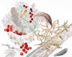 """Angie Lewin """"Cromarty Bowl and Spey Lichen"""" watercolour http://www.angielewin.co.uk/products/cromarty-bowl-spey-lichen"""