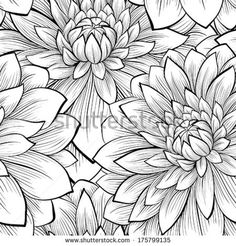 Beautiful seamless background with monochrome black and white flowers. Hand-drawn contour lines and strokes. by Hulinska Yevheniia, via Shut...