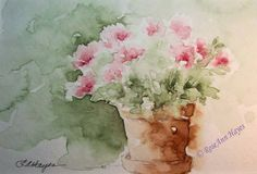 Pink Flowers in Terra Cotta Flower Pot Watercolor by RoseAnnHayes