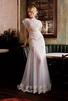 tulle and embroidered-lace transparent gown.  $668, Tadashi Shoji.