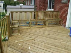 Building a wooden deck over a concrete one : Adding storage benches Outdoor Deck Decorating, Outdoor Decor, Outdoor Spaces, Deck Storage Bench, Storage Boxes, Outdoor Storage, Deck Building Plans, Deck Plans, Deck Seating