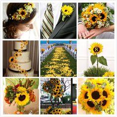 nunta cu aranjamente de floarea soarelui