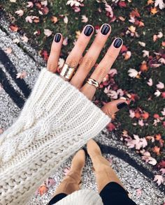 "Rainy fall days = perfect mani days / color is ""Shh...it's top secret"" OPI Gel line."