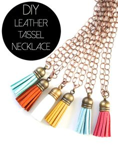DIY leather tassel necklaces - got all the supplies at JoAnn's and the total cost came out to less than $3 per necklace.