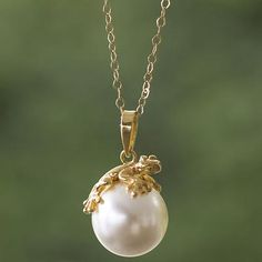 Swarovski Crystal Pearl and Gold Plated Silver Frog Necklace - Lucky Frog | NOVICA